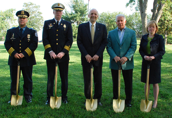 Groundbreaking Photo: Police Chief Teare, Fire Chief Ray, County Executive Leopold, Chairman Ebersberger, Arts Council Exec Nyman