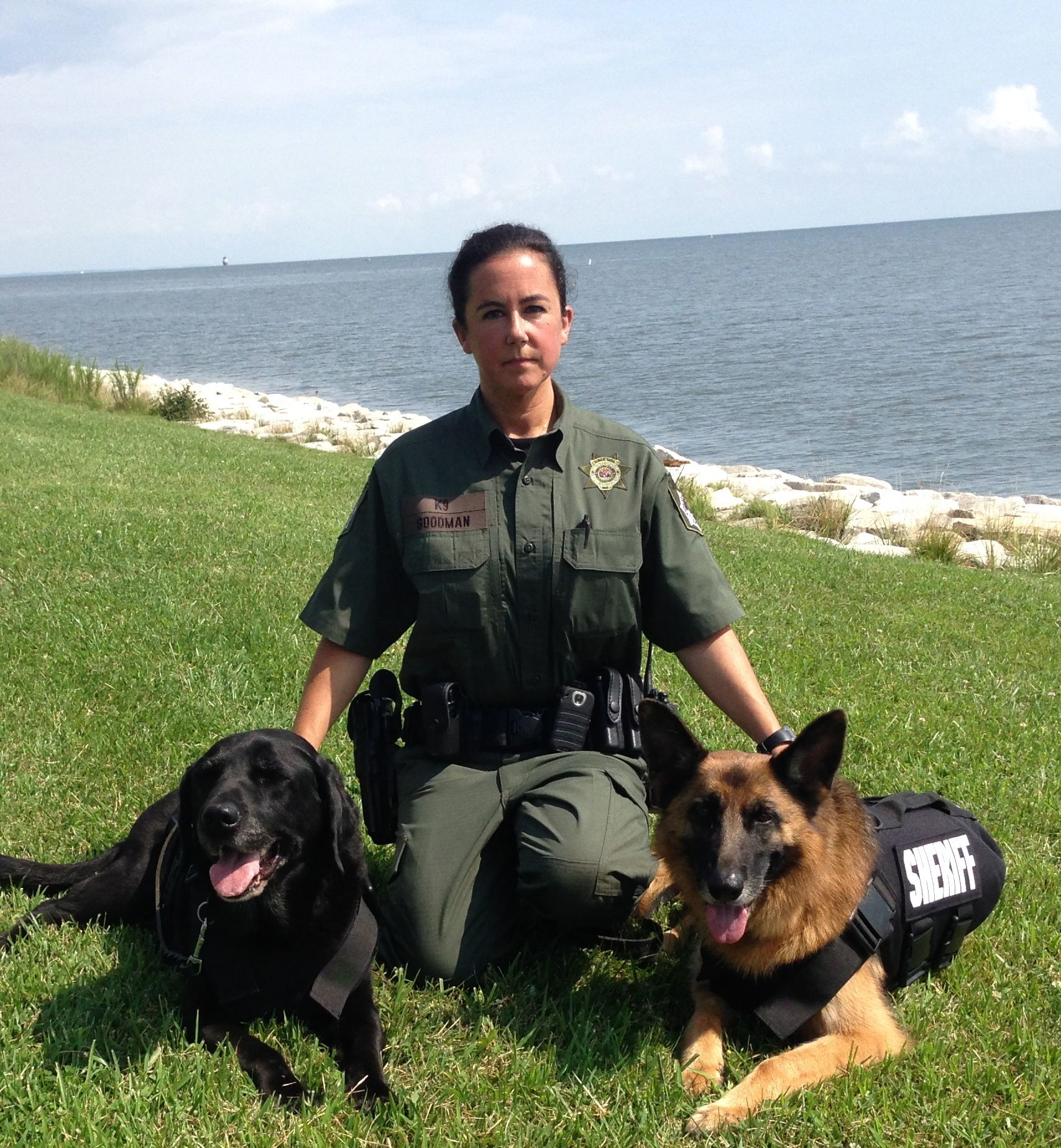 K9 Rocky and K9 Calypso, handled by Lcp. Michele Goodman are trained in Explosive Detection.