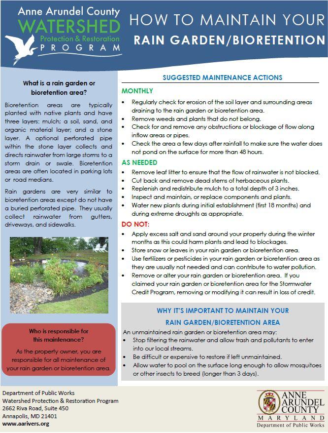 Bmp maintenance anne arundel county md for Garden maintenance schedule