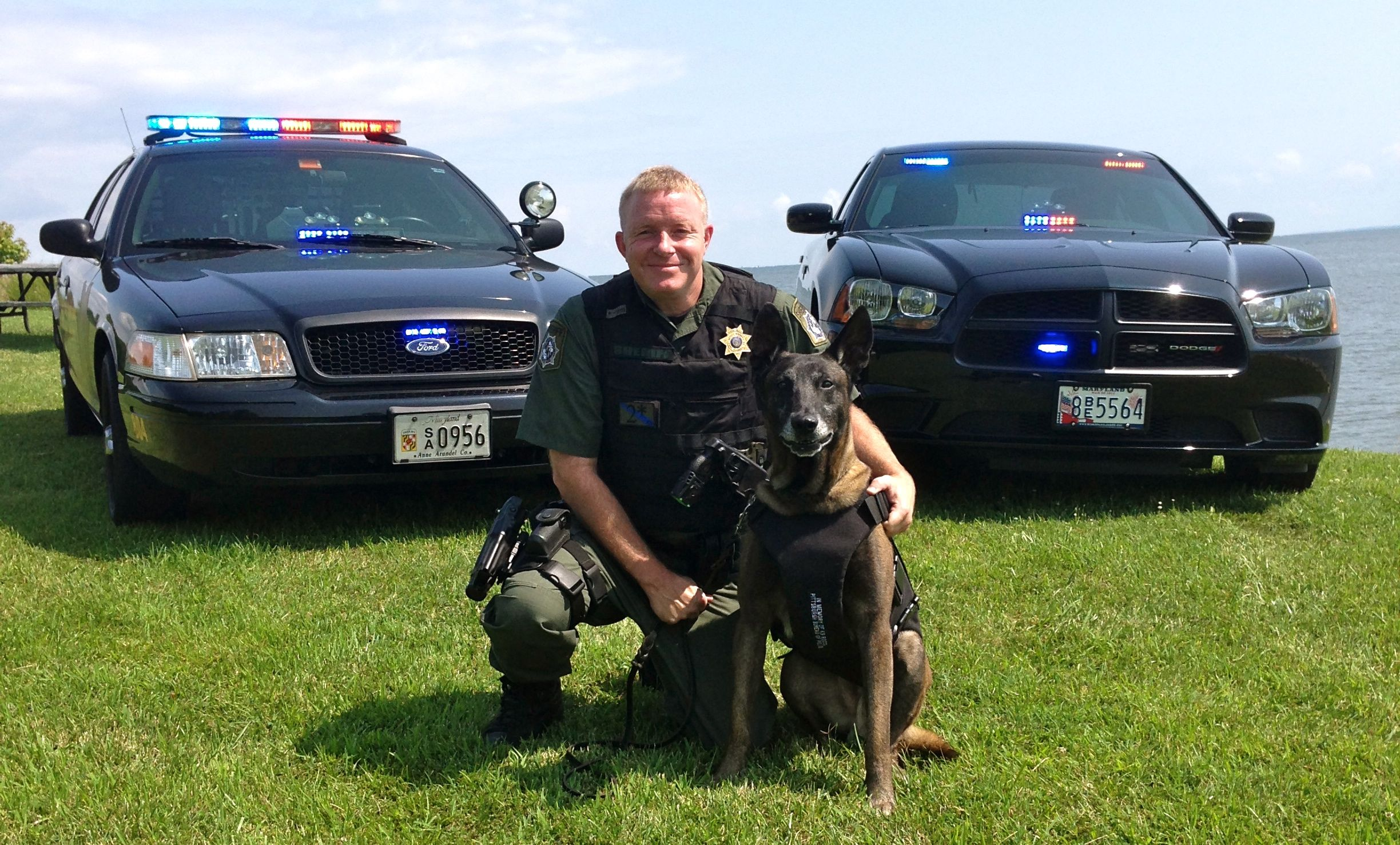 K9 Grim, handled by Lcp. Jason Jett, is trained in Patrol/Explosive Detection.