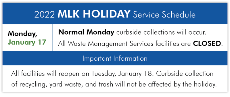 Facility and Curbside Collection Holiday Notice