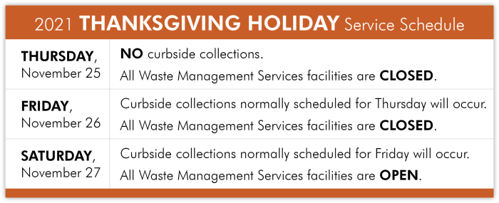 Thanksgiving Holiday Collection Schedule