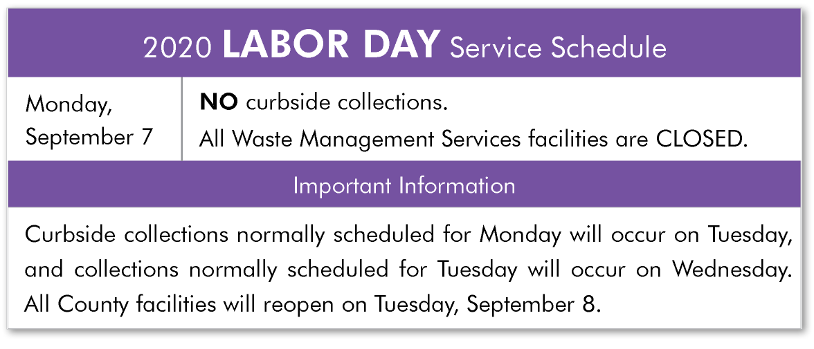 Click to View the Complete Holiday Schedule for Facilities and Curbside Collection